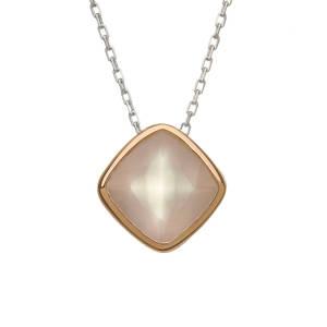 silver and rare Irish rose gold rose quartz pendant