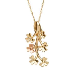 diamond set 9 ct yellow gold love shamrock spray pendant