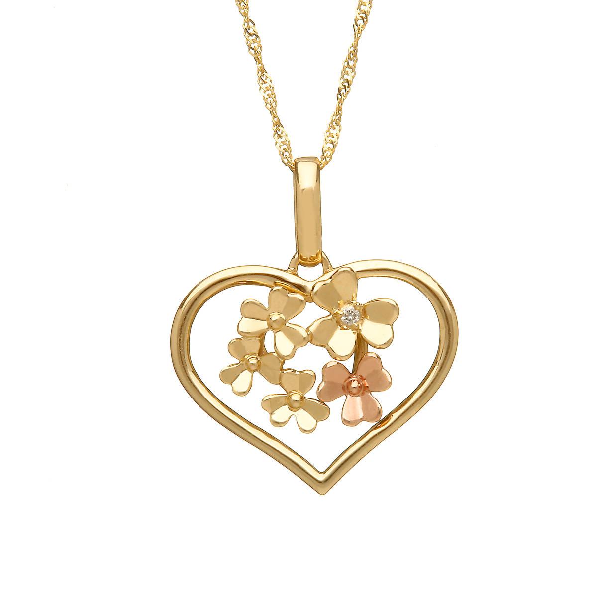 diamond set 9 ct yellow gold love shamrock large open heart pendant with one rare Irish rose gold flower.