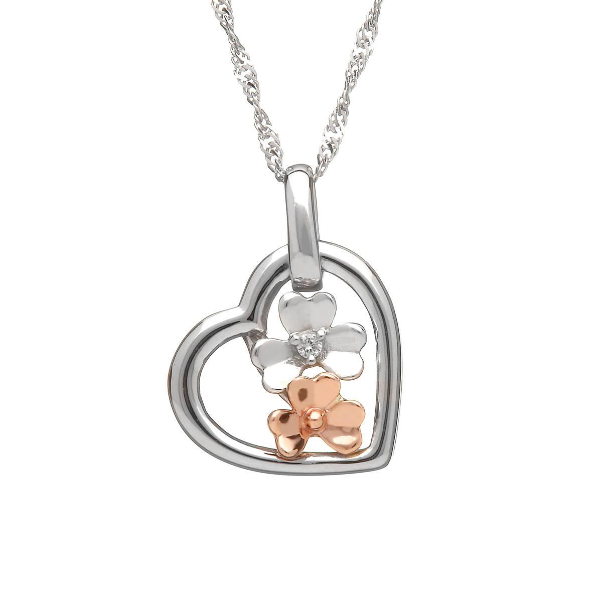 diamond set 9ct white gold love shamrock small open heart pendant with one rare Irish rose gold flower.