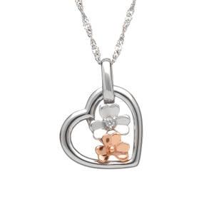 diamond set 9ct white gold love shamrock open heart pendant