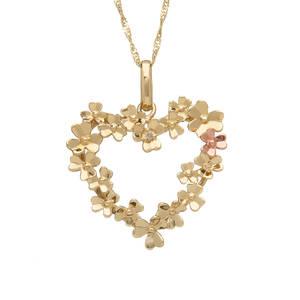 diamond set 9ct yellow gold love shamrock open heart pendant