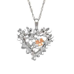 diamond set 9ct white gold love shamrock bouquet pendant
