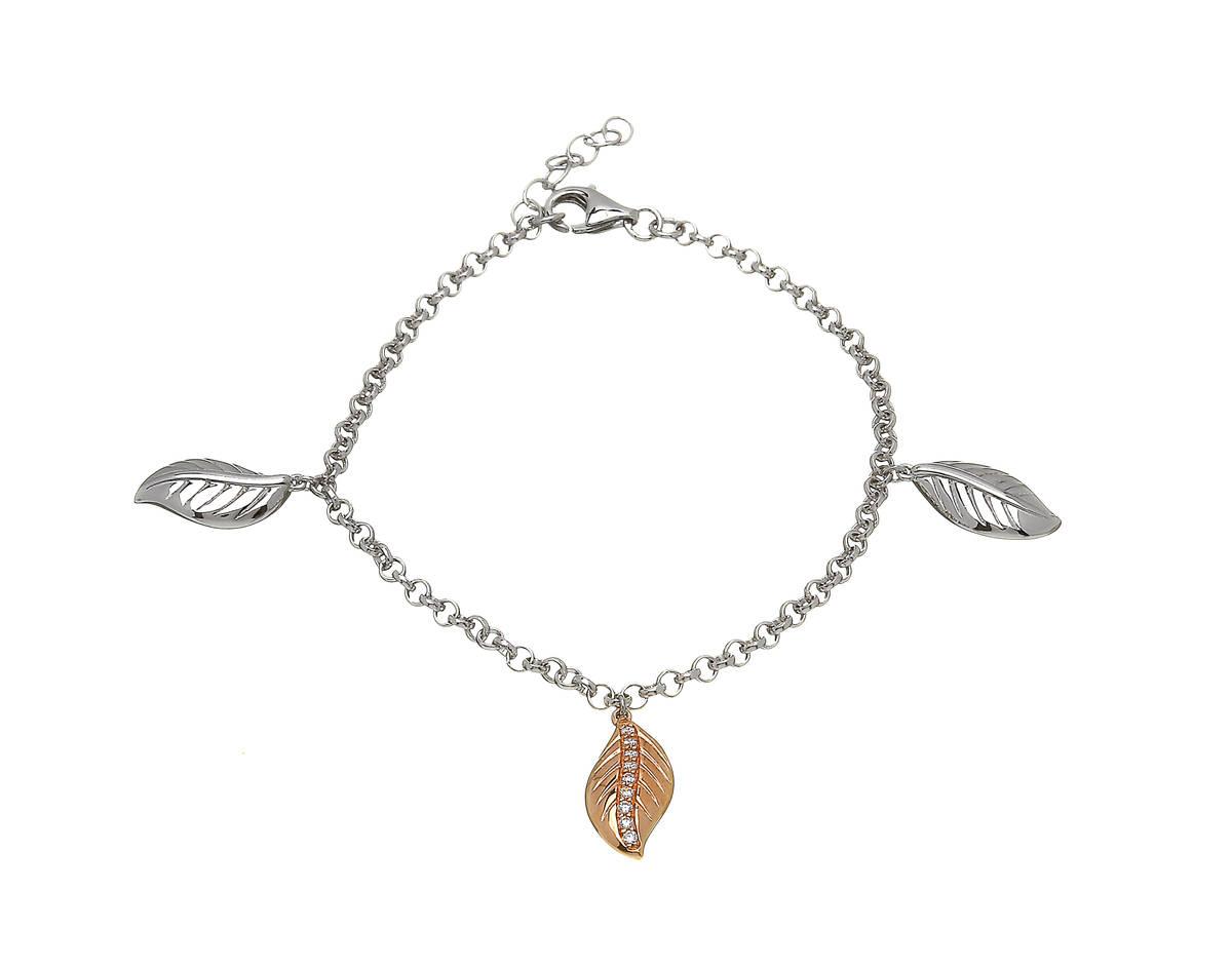 silver and rare Irish rose gold multi leaf bracelet with czs.