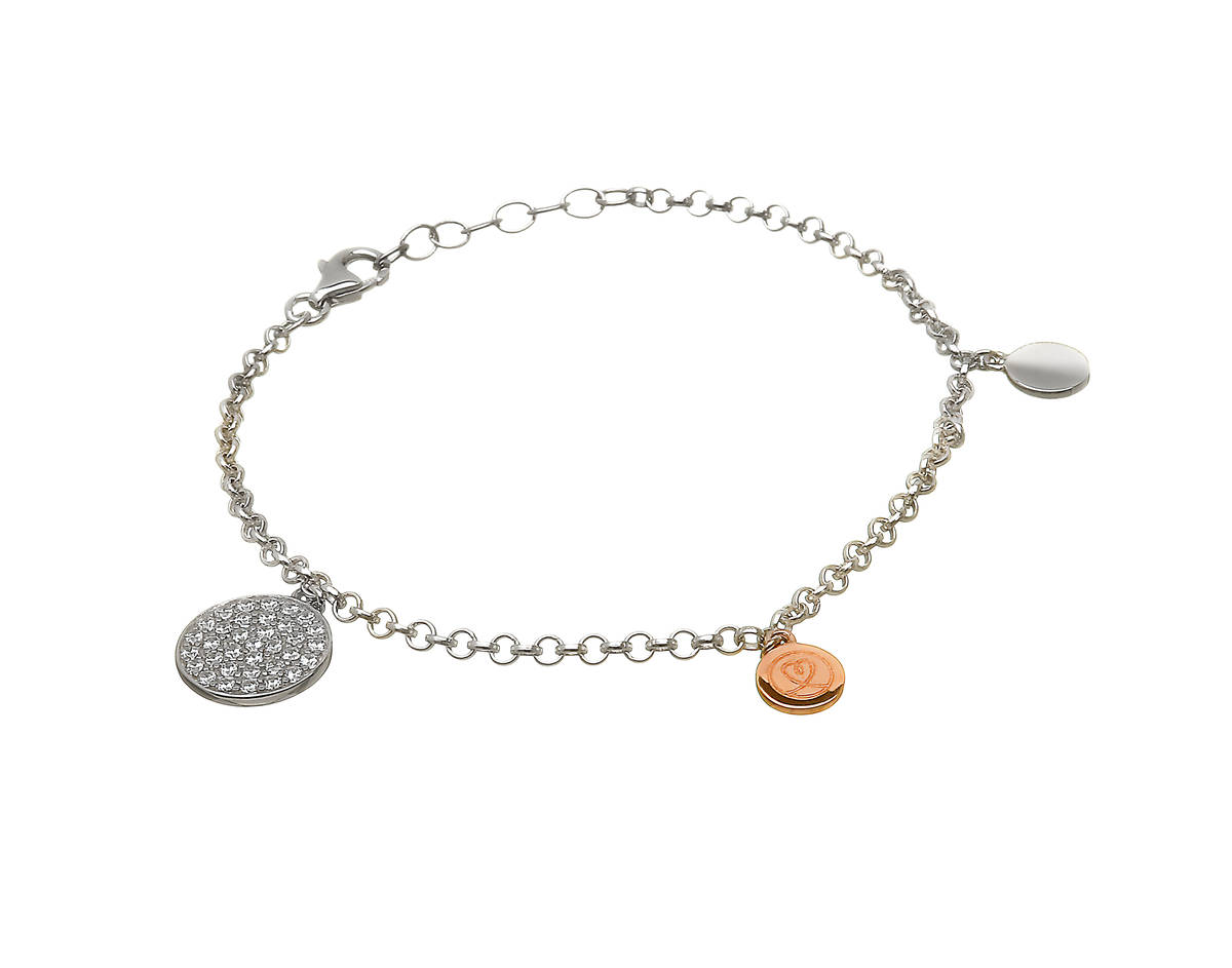 silver and rare Irish rose gold cz set discs in bracelet.