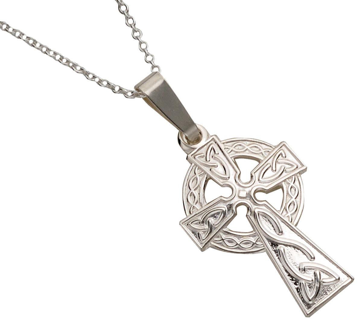 Silver Classic Di Stamped Celtic Cross 18 Trace Ch 20mx13m