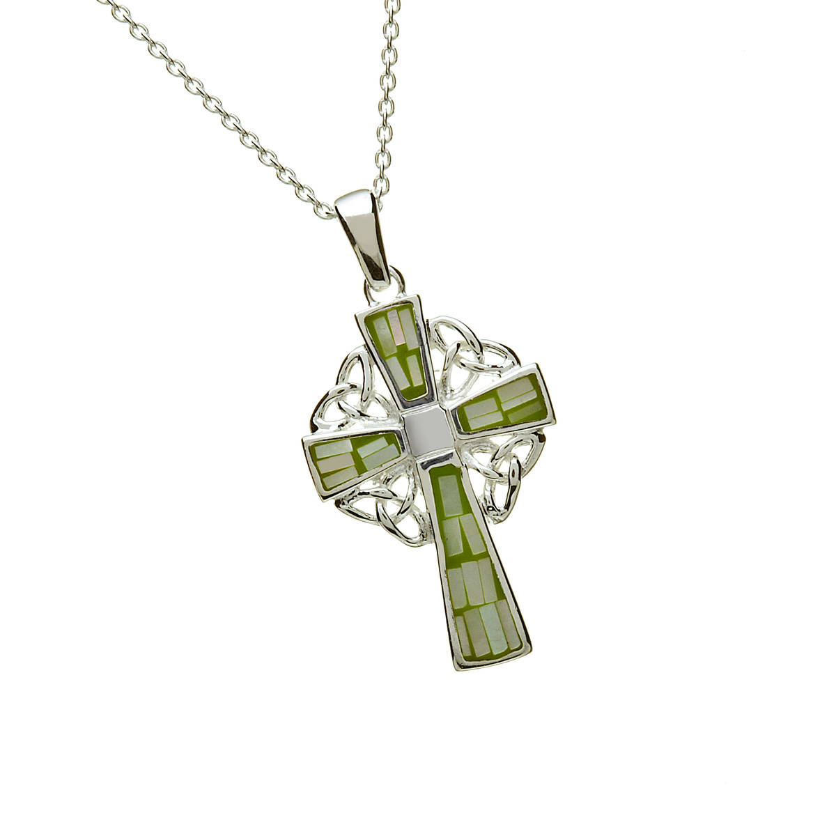 Silver Green Marble Celtic Cross 18 Trace Chain