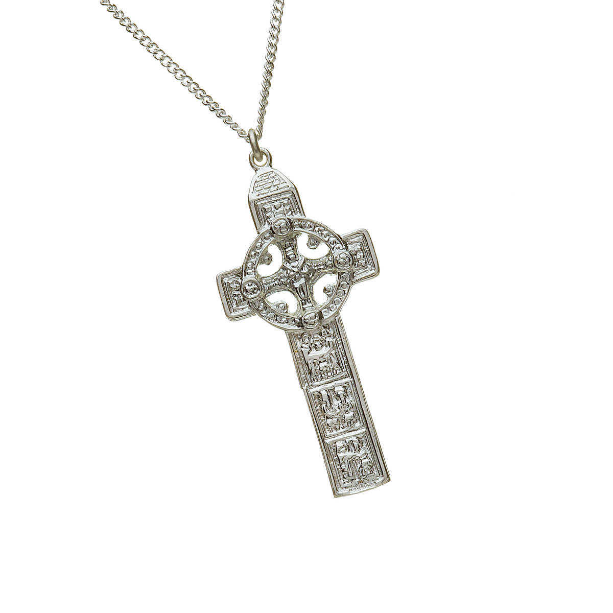 """Silver Heavy Reproduction Clonmacnoise Cross On 20"""" Curb Ch 45mx21m"""
