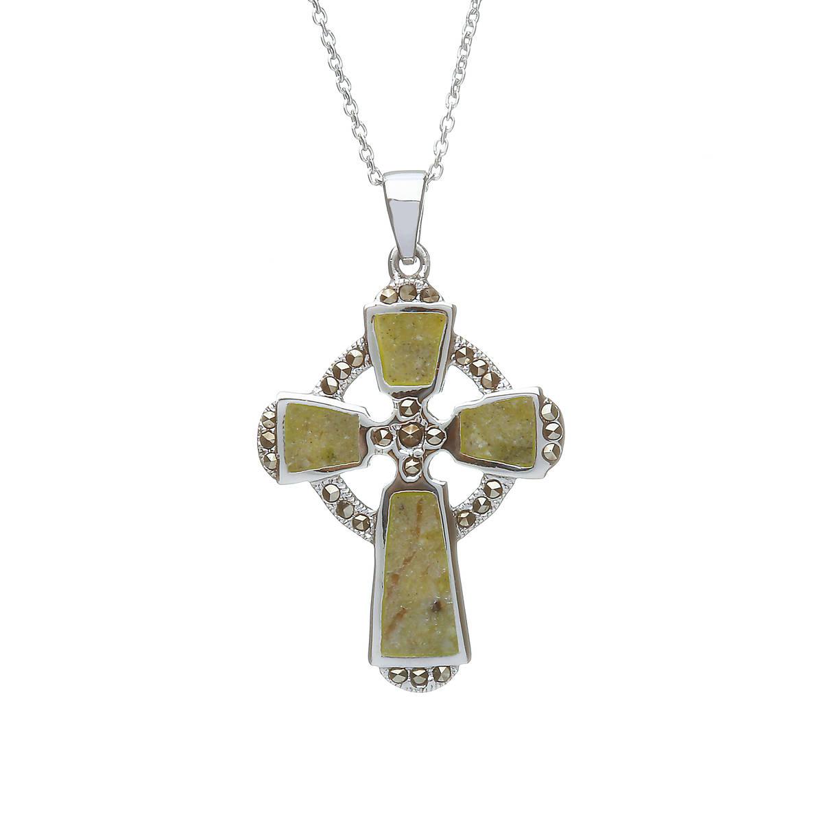 Silver Connemara  Marble Celtic Cross Pendant