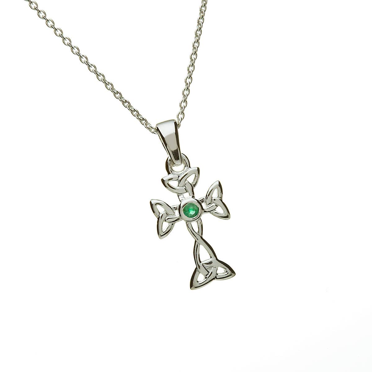 "Silver Celtic & Emerald Cross On 18"" Trace Chain"