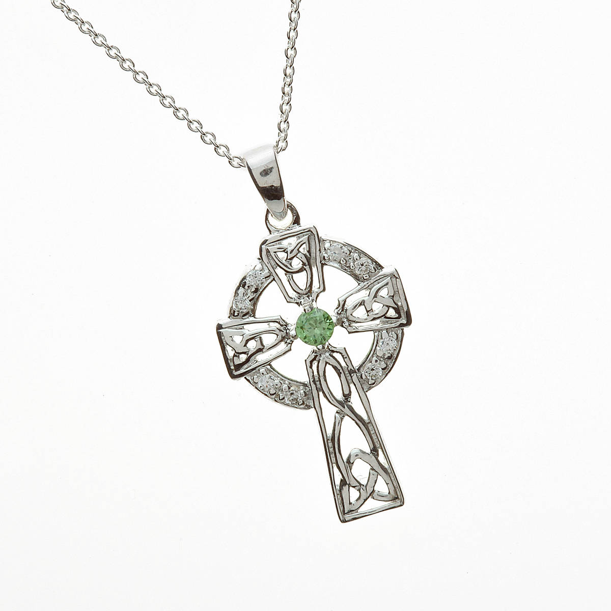 "Silver Cz Cross With Green Cz Centre 18"" Trace"