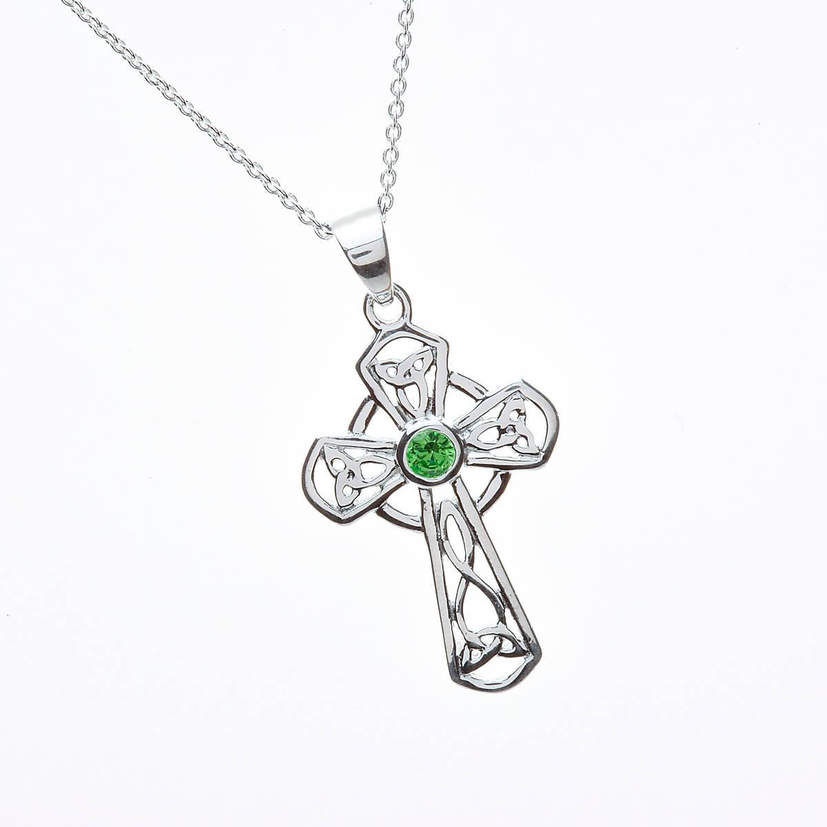 Silver Celtic Cross Green Cz