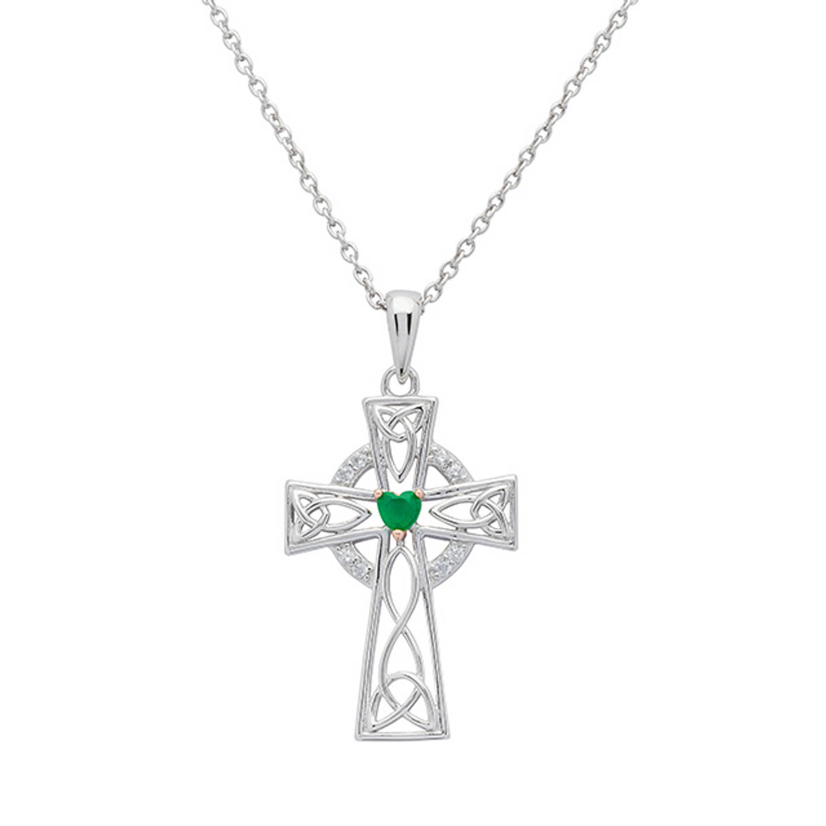 Sterling Silver Celtic Cross with Heart Shaped Green Agate.   An exquisite example of the Celtic cross. This pendant is also embellished with Celtic Knots, rose gold and cubic zirconia.   Size: 21.5mm