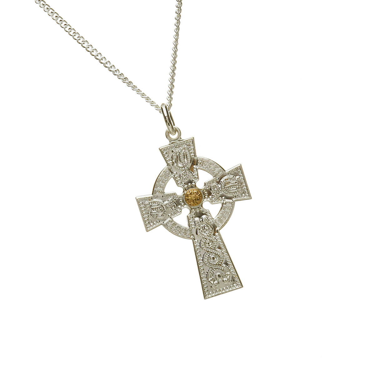 "Arda Lge Sil (30mm)celt Cross & 14ct Boss 18"" Chain-an accurate example of the Arda cross"