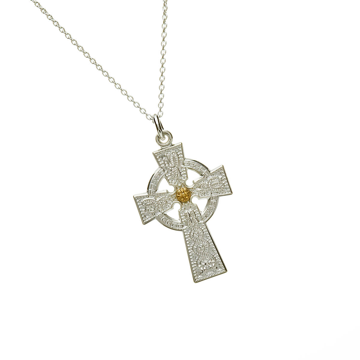 """Arda Sml Sil (20mm) Celt Cross & 14ct Boss 18"""" Trace -an accurate example of the Arda celtic cross"""