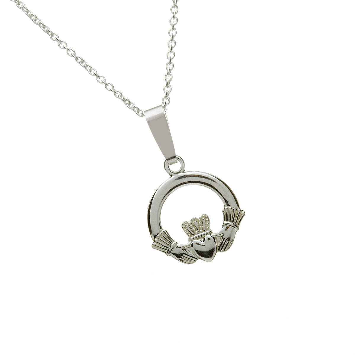 An inexpensive traditional claddagh pendant popular as a gift of friendship and love