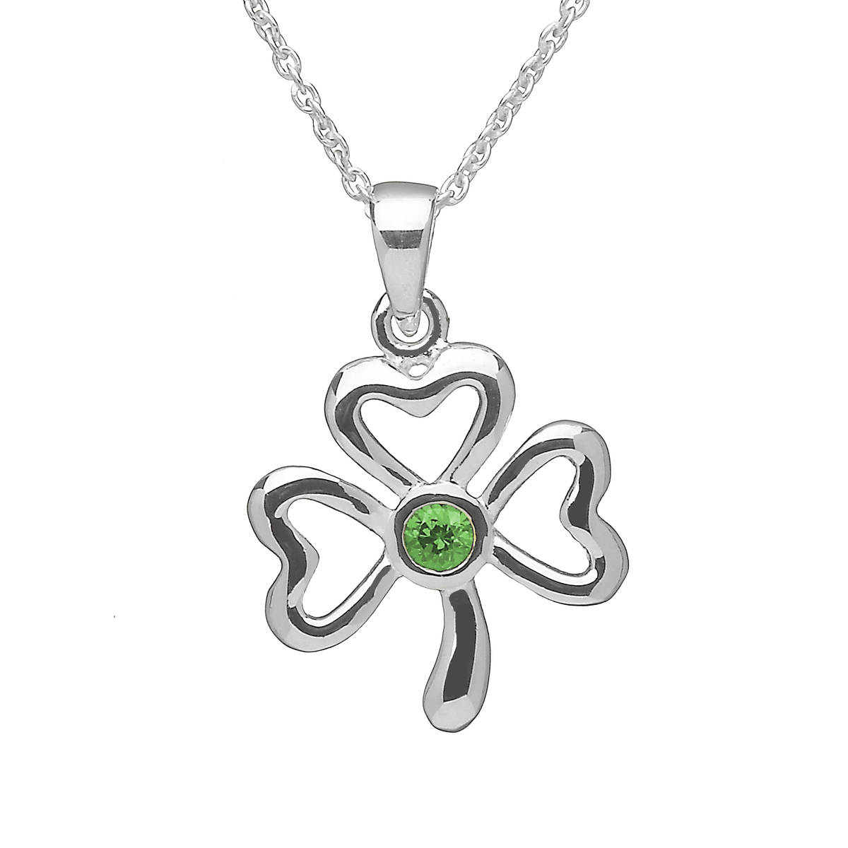 Silver Shamrock Pend With Green Stone Centre