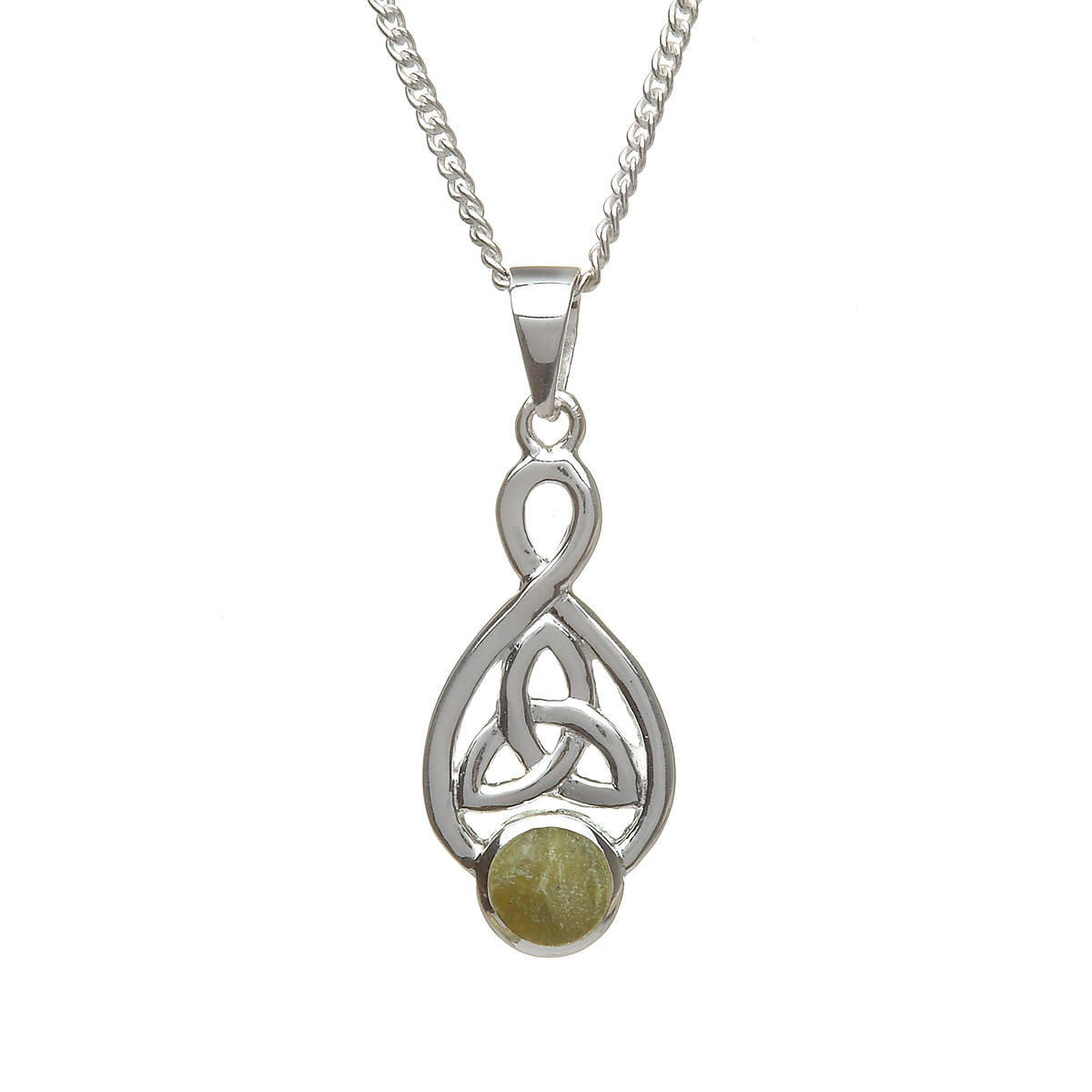 Silver Trinity Knot Pendant With Marble Inset