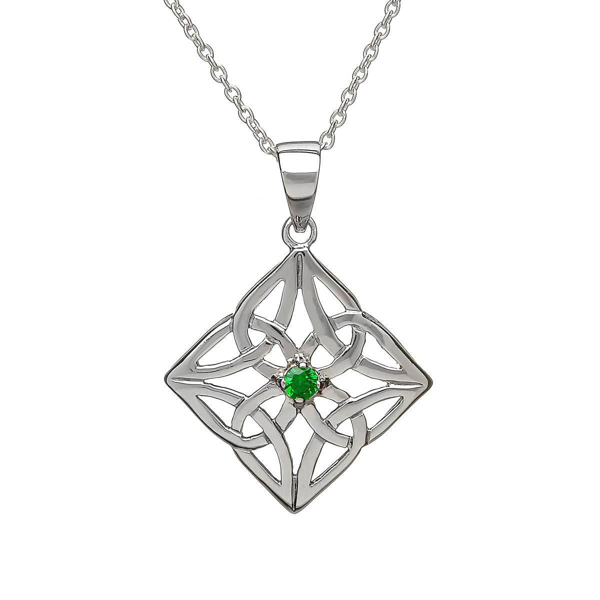 Silver Celtic Pend Diamond Shape With Drak Green Cz Centre