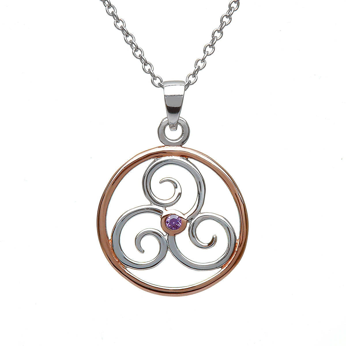 Silver Rp Celtic Circle With Amy Centre Stone Pendant