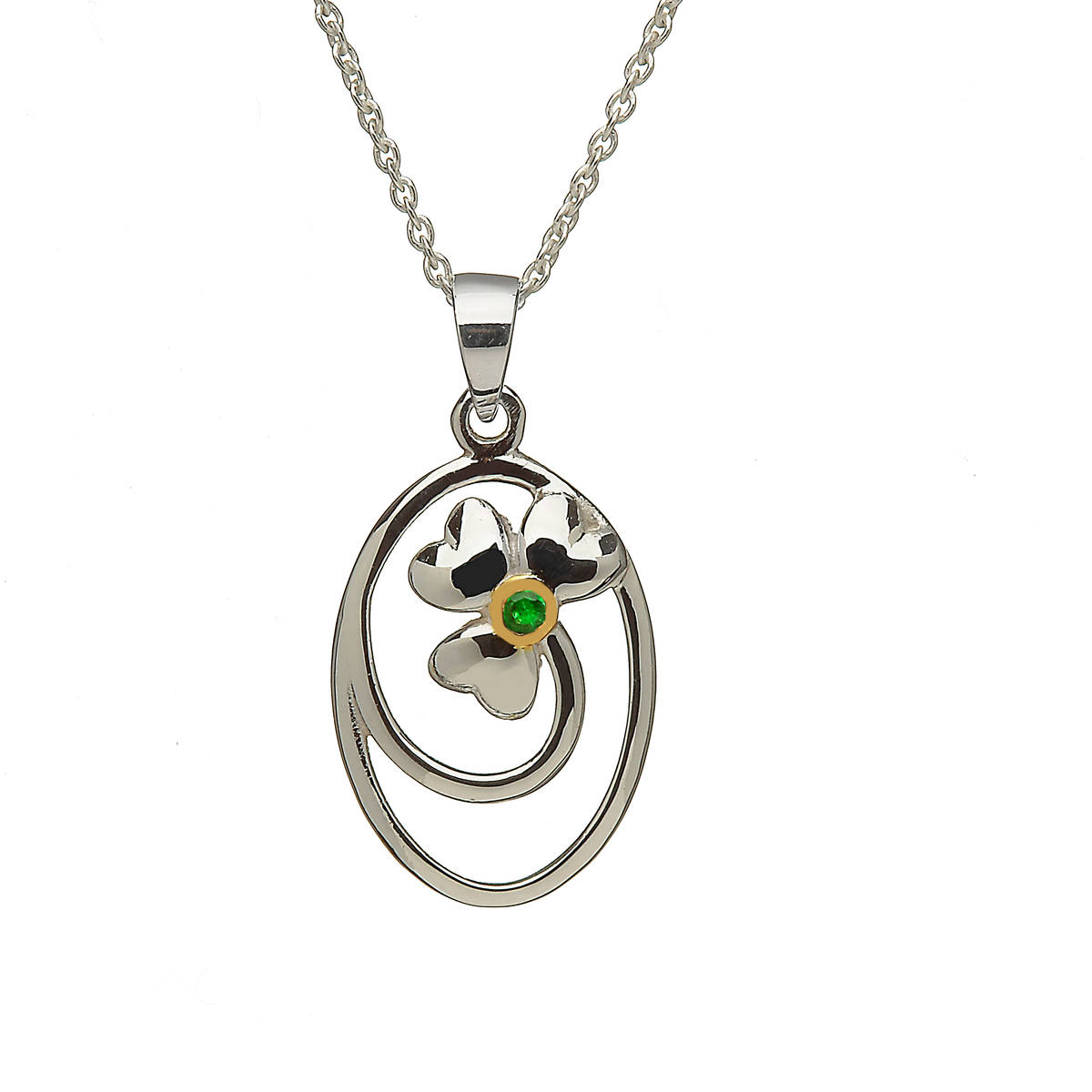 Silver Oval Pendant With Emerald Set Shamrock Centre