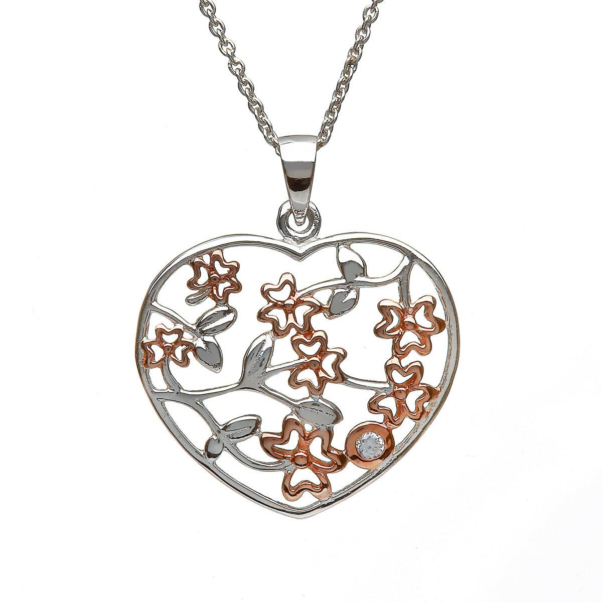 Silver Heart Pendant With Shamrocks Centre Cz