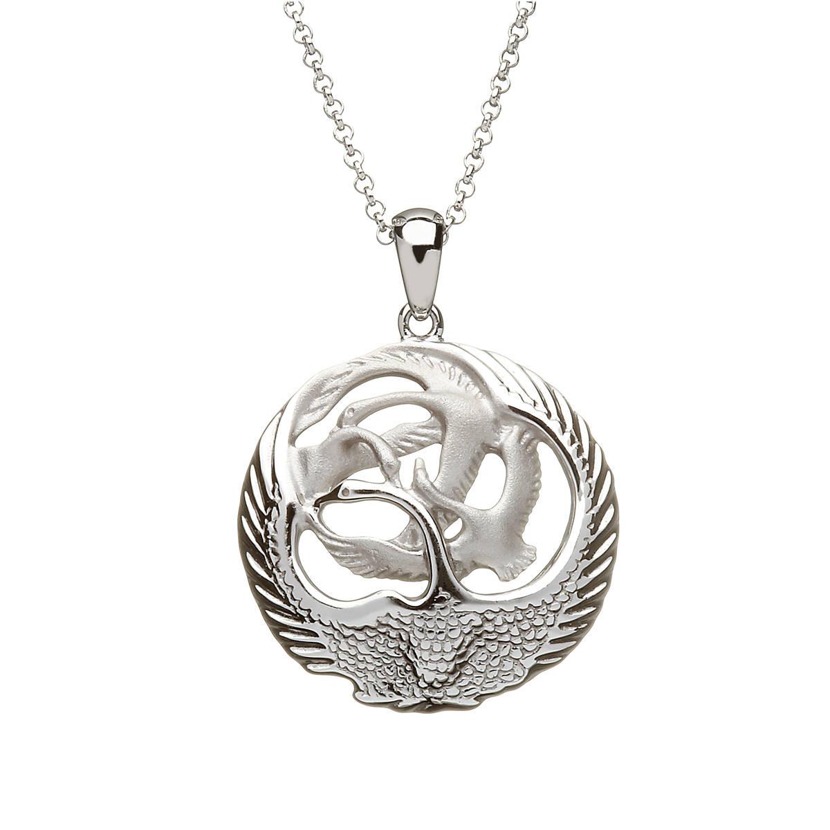 Silver Round 3d Children Of Lir Swan Pendant Small