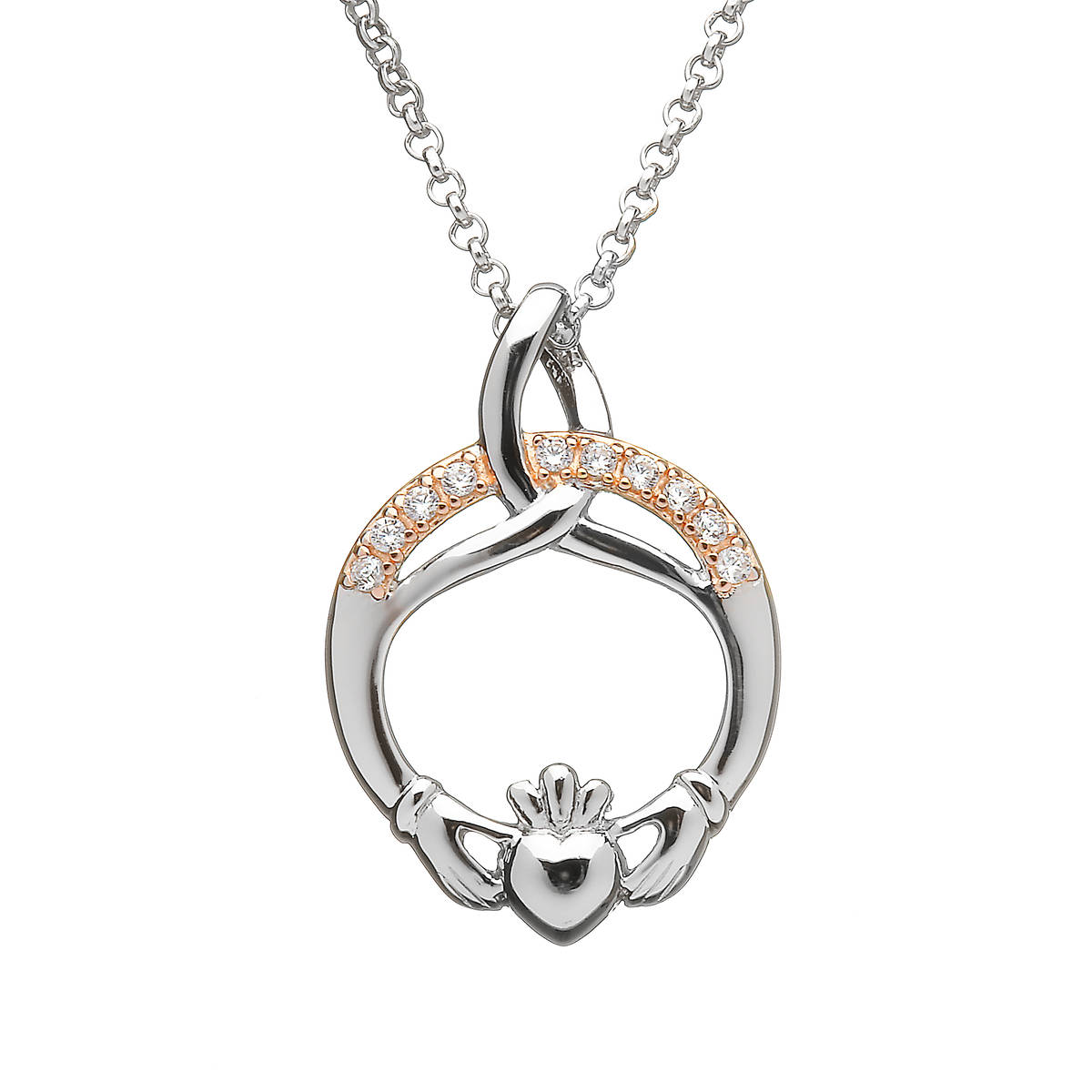 Silver Trinity Claddagh Pendant With Cubic Zirconia Stones In Rose Gold Plating