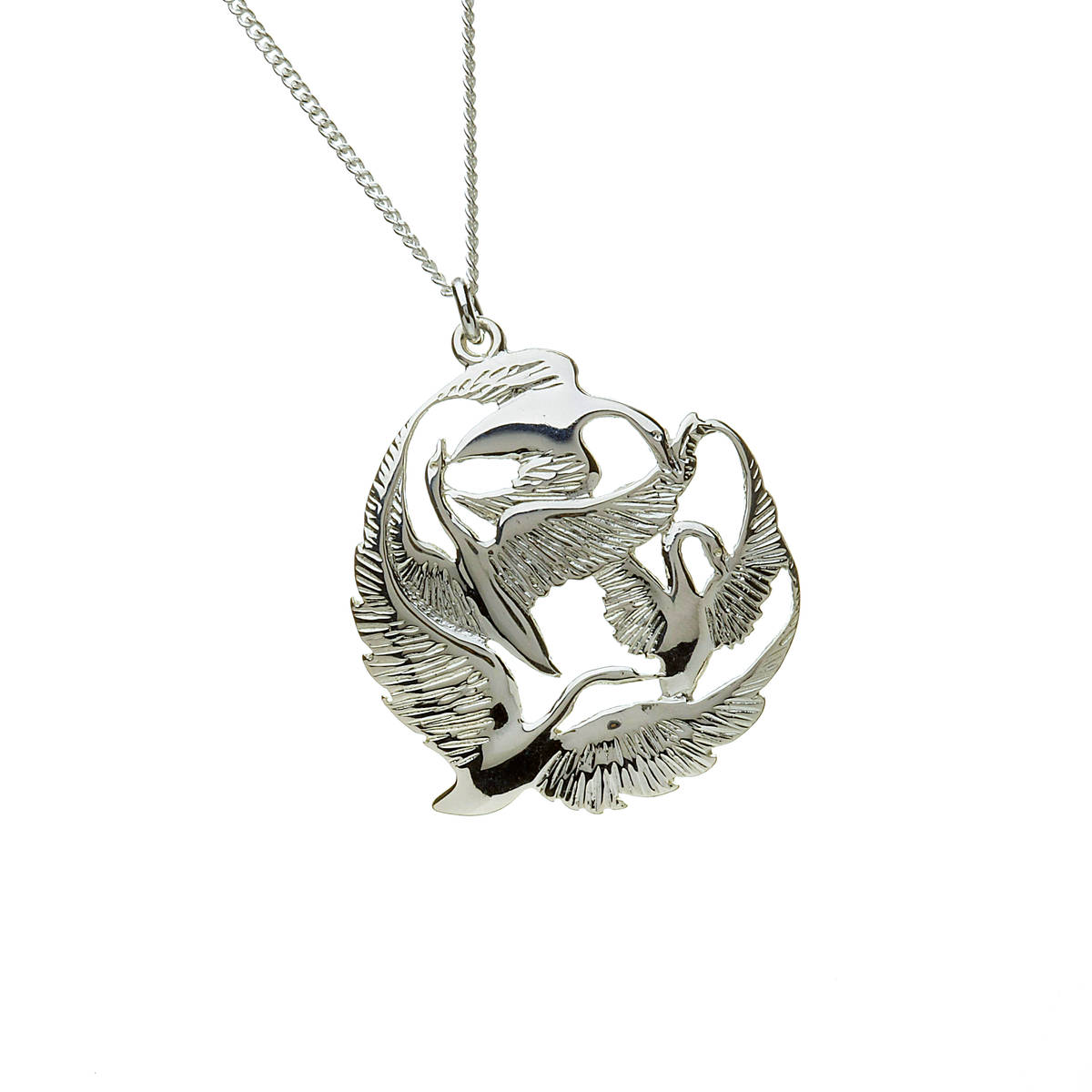 Silver Children of Lir pendant chained and boxed is beautifully styled and presented and you must read the story of the fable to understand the tragic beauty of their lives as described in our Lir section.