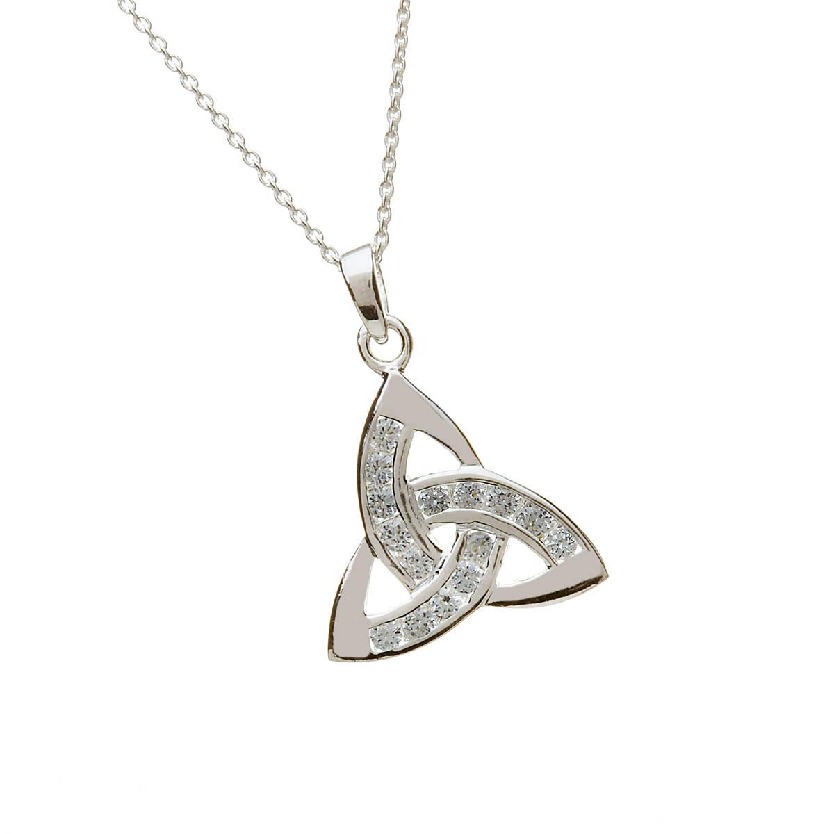Silver Cz Trinity Knot Pendant