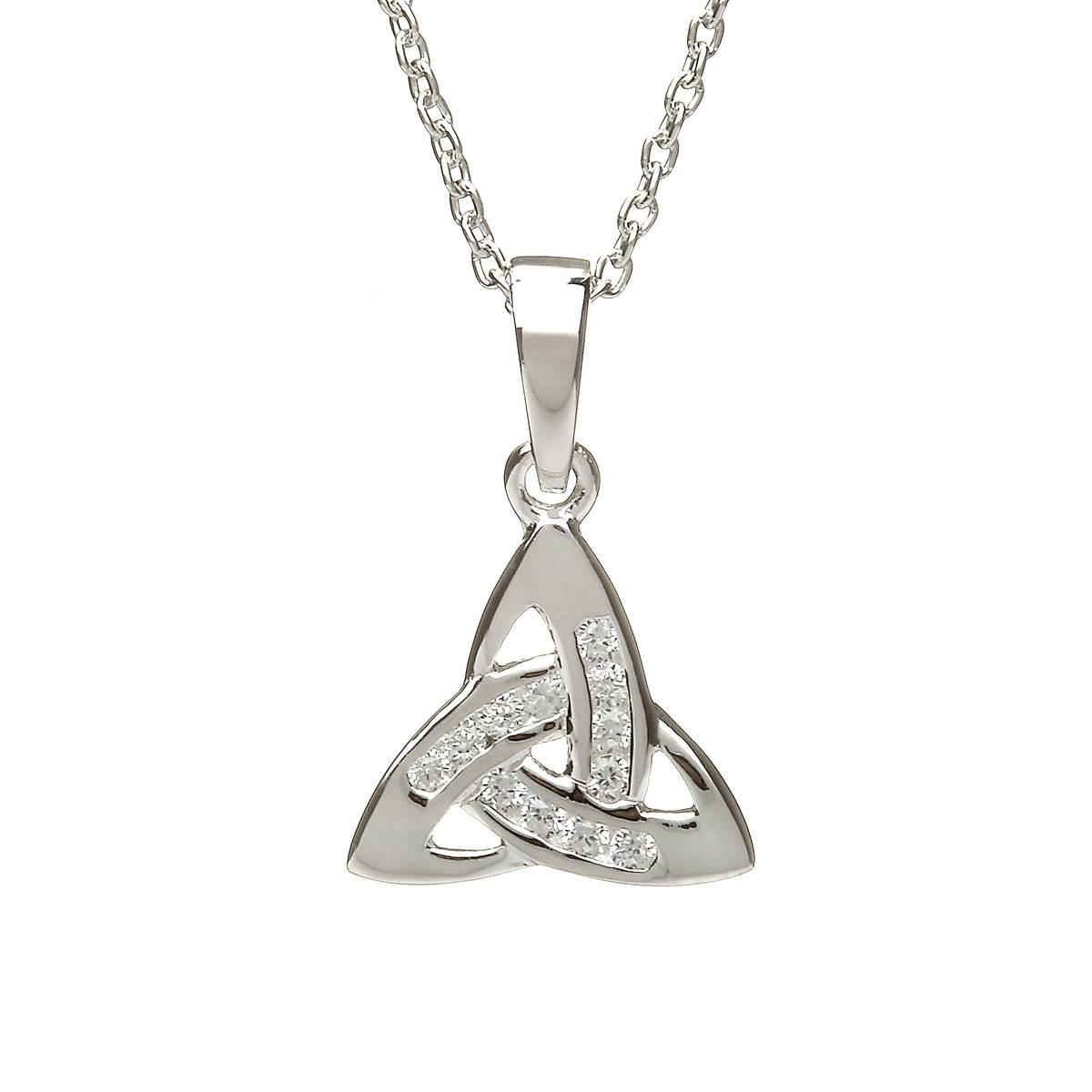 Silver Small Cz Trinity Knot Pendant