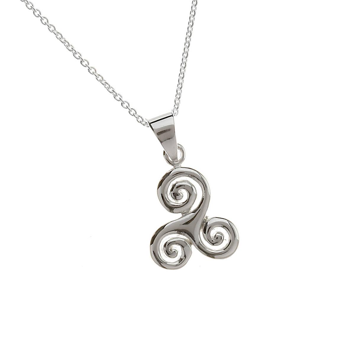 "Sil Celtic Swirl Pendant 18"" Trace"