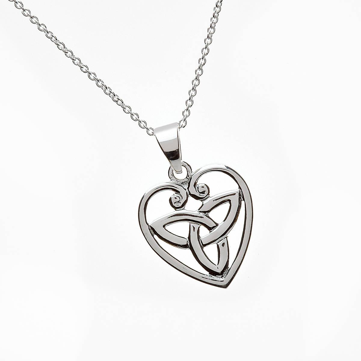 "Silver Trinity Knot Inside Heart Pendant 18"" Trace Chain"
