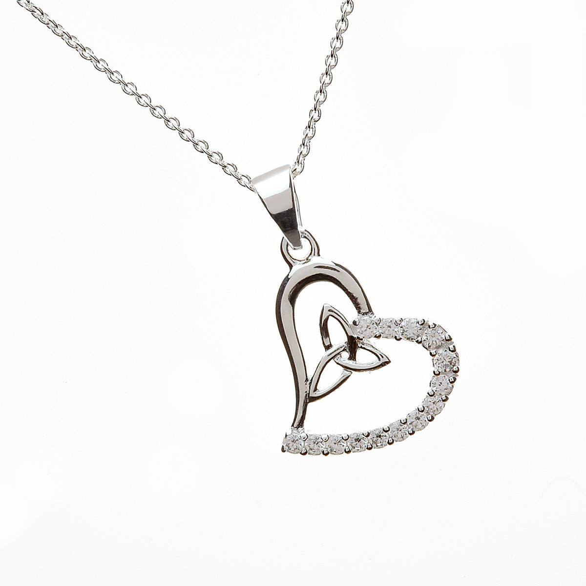 Silver Cz Heart Pendant With Trinity Knot Inset