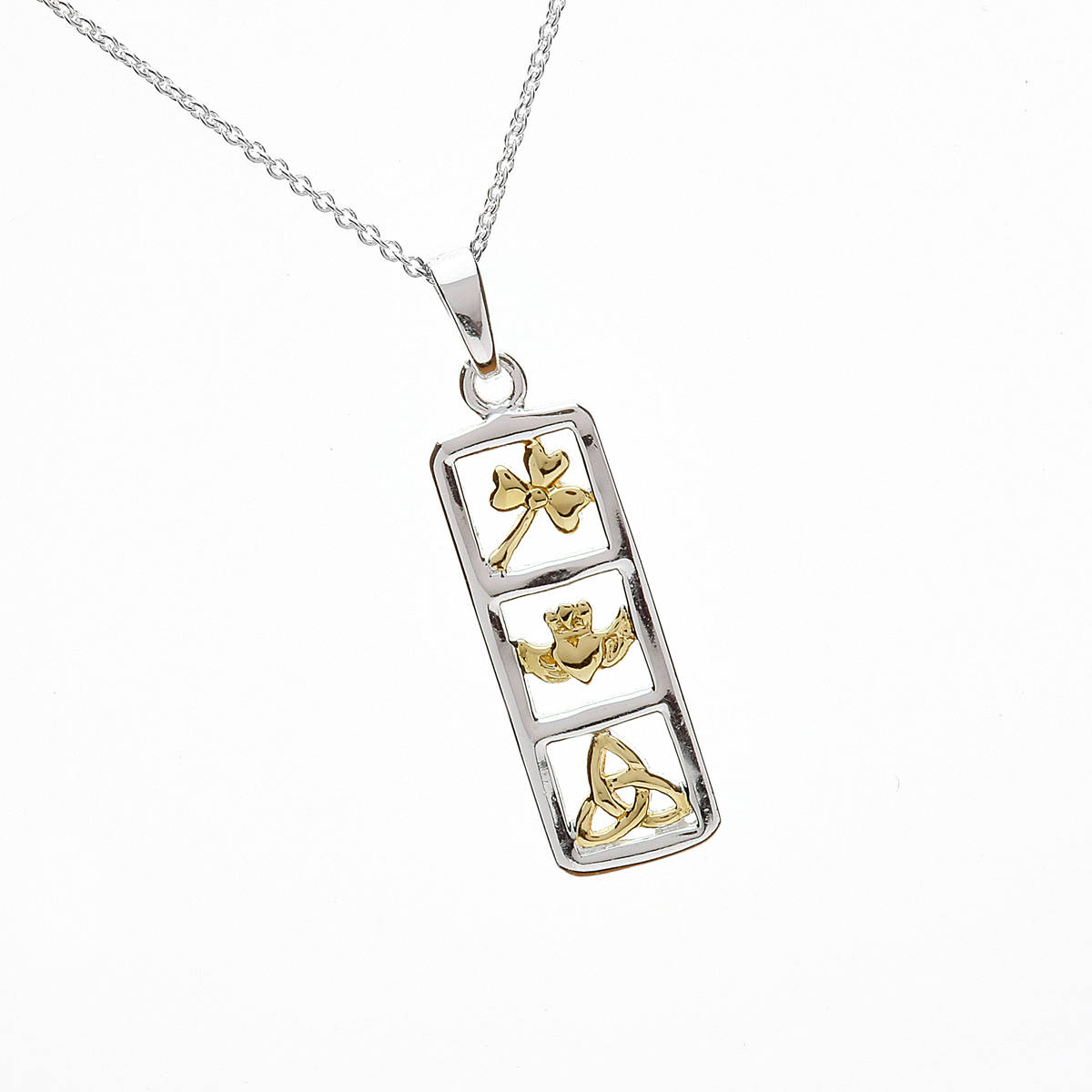 Silver Rectangle Gold Plated Shamrock,claddagh And Trinity Knot Pendant