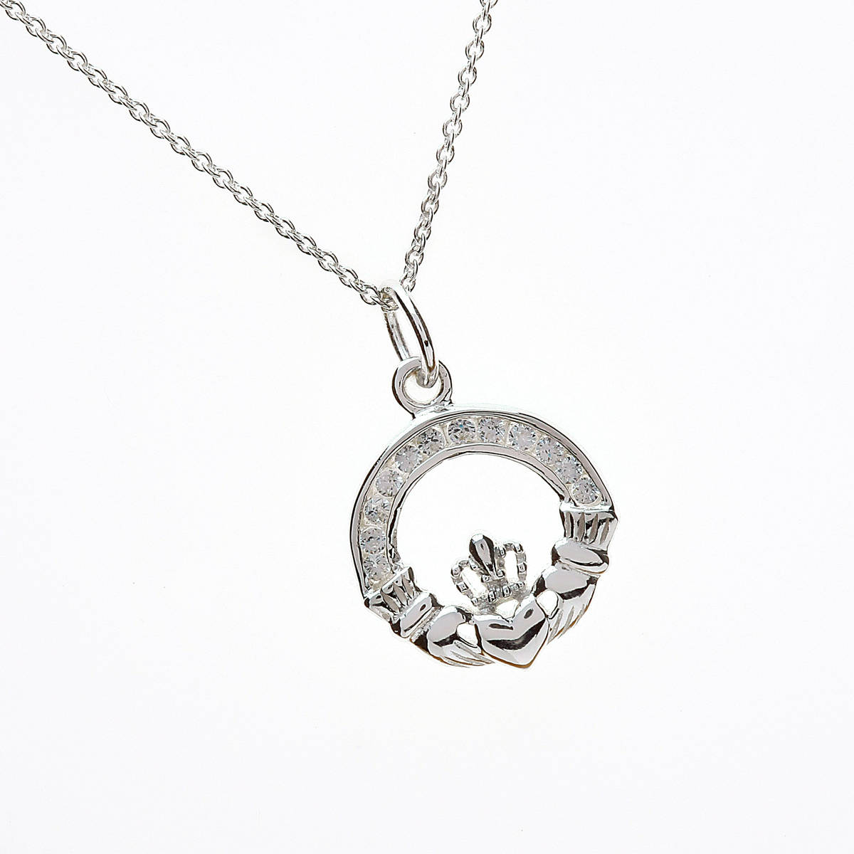 Silver Small Cz Claddagh Pendant