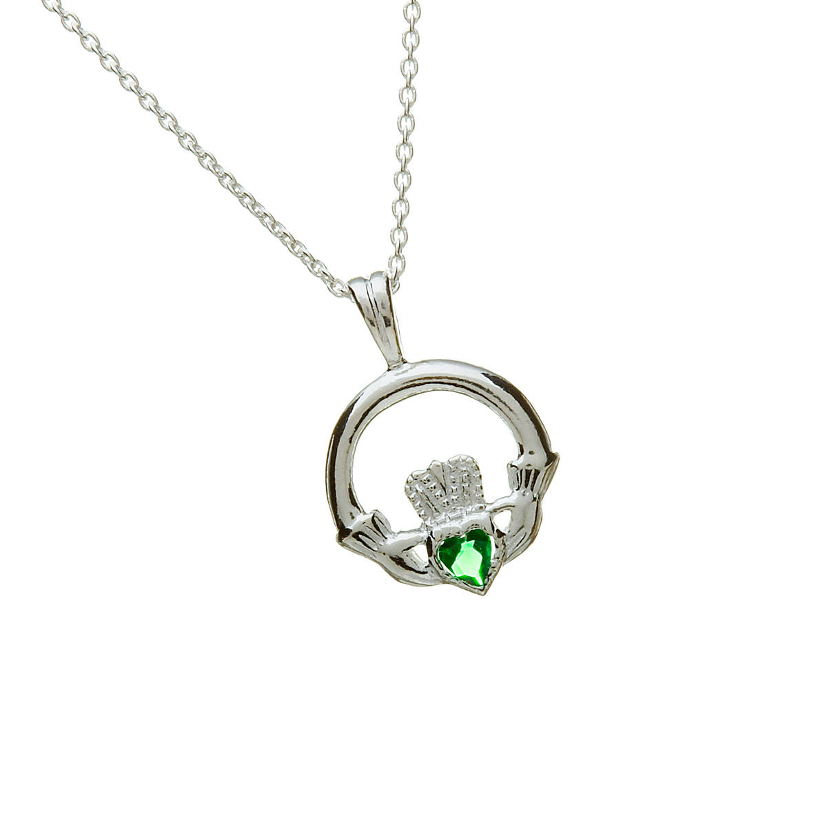Silver Claddagh Pendant With Green Agate Heart