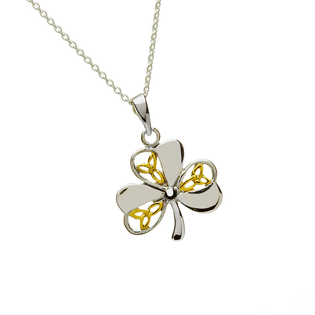 Silver Two Tone Trinity And Shamrock Pendant