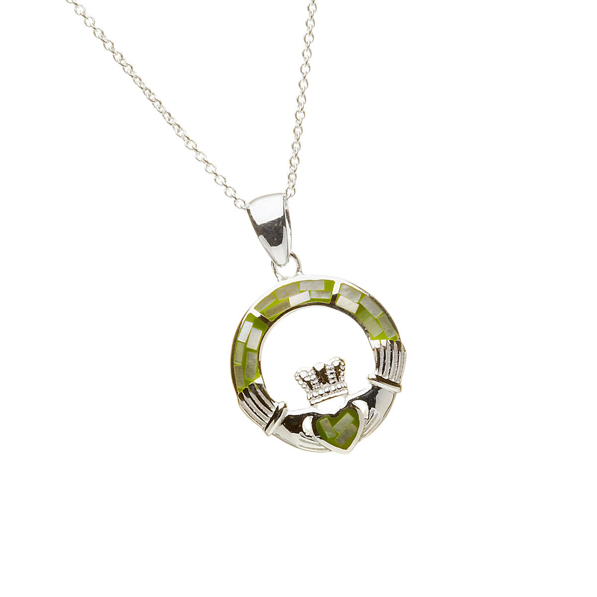 Silver Green Mosaic Claddagh Pendant