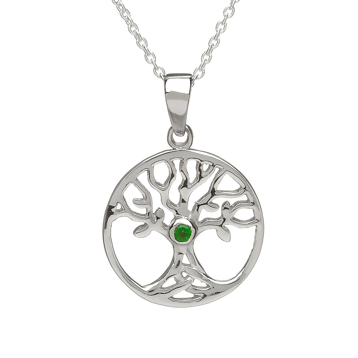 Silver Open Tree Of Life Pendant With Green Cz Centre