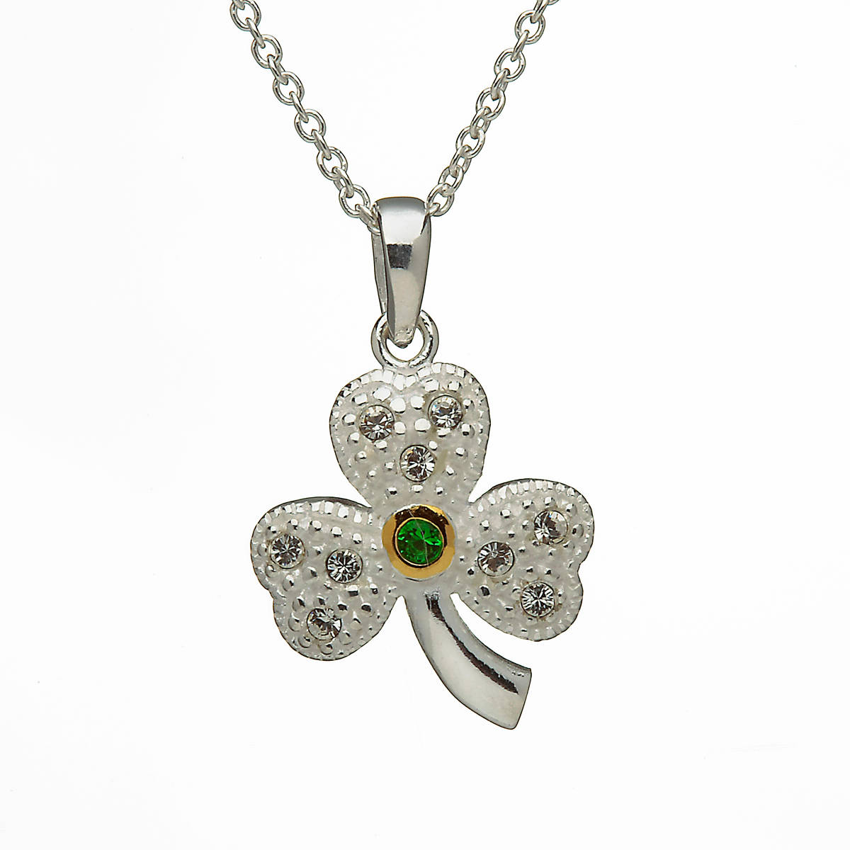 Silver Stone set Shamrock With Green Centre In Gold Plated Setting