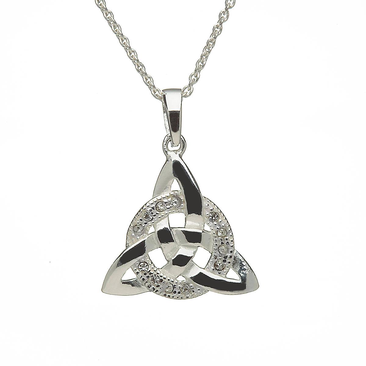 Silver Cubic Zirconia set Trinity Knot Pendant