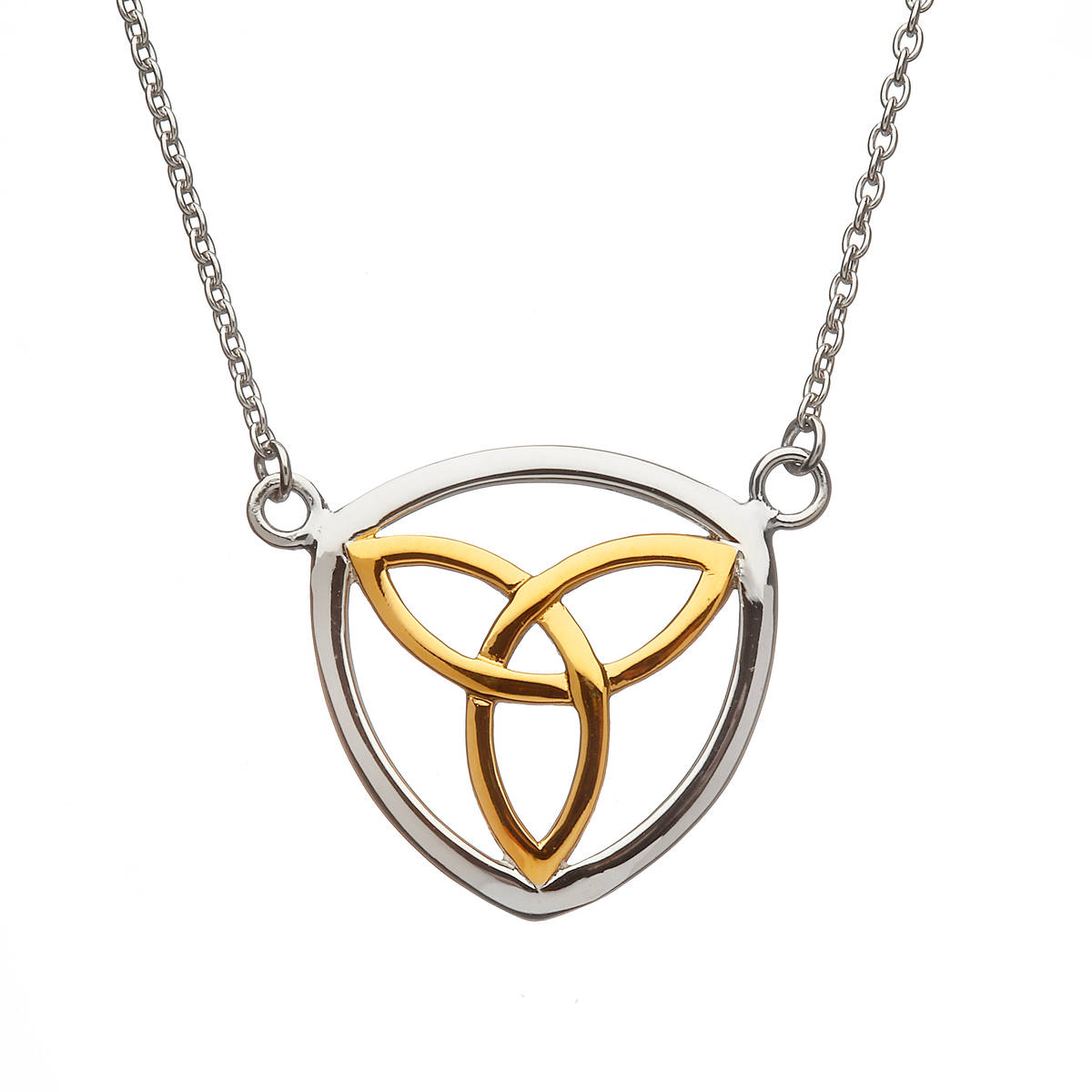 Silver Open Pendant With Gp Centre Trinity Knot On Split Chain