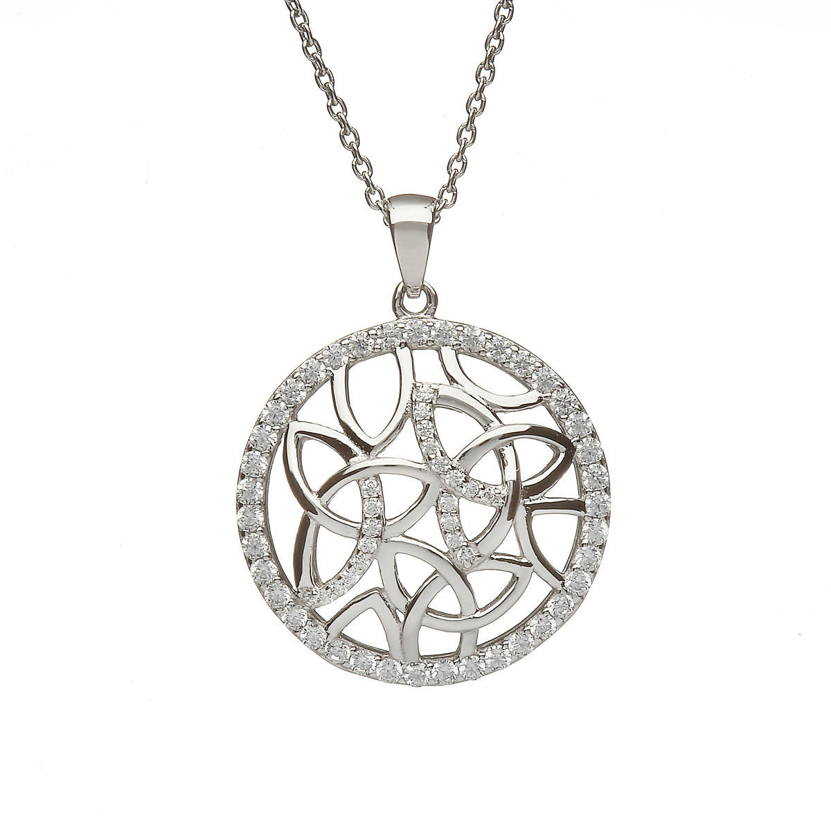 Sterling Silver Circular Trinity Knot Design Pendant Set With Cubic Zirconias
