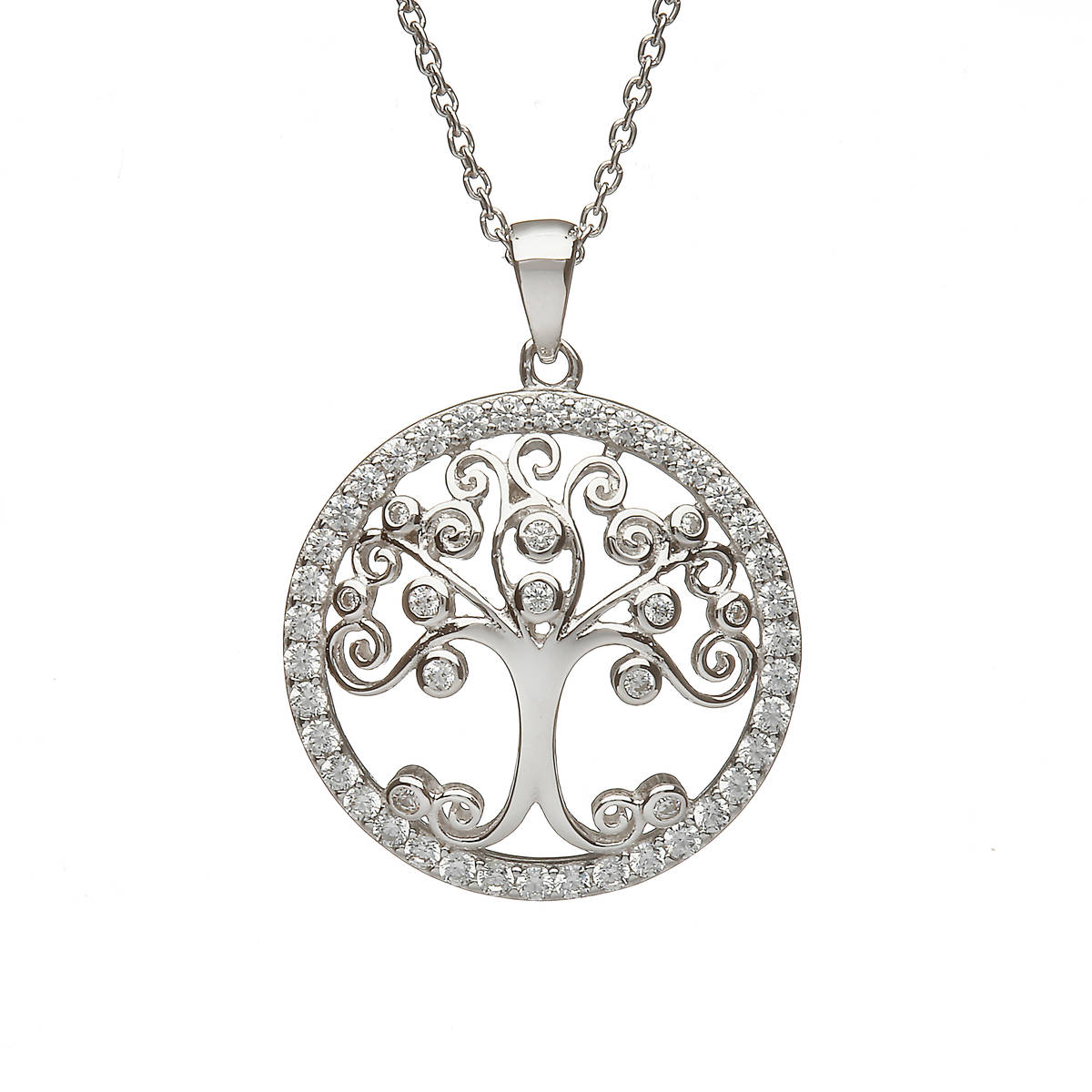 Sterling Silver Circular Tree Of Life Design Pendant Set With Cubic Zirconias