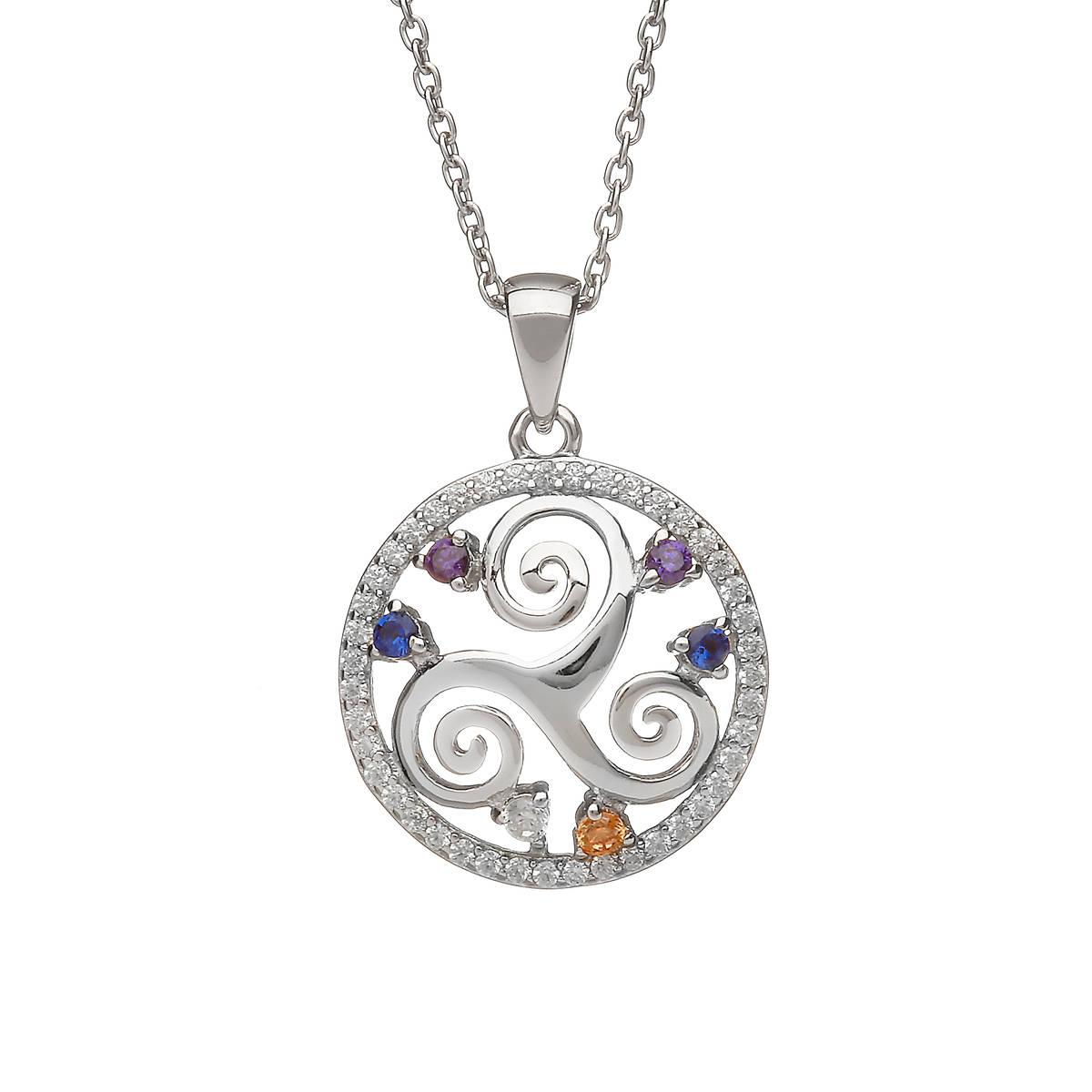 "Sterling Silver Circular Newgrange Spiral Design Pendant ""Colours Of The Irish Countryside"""