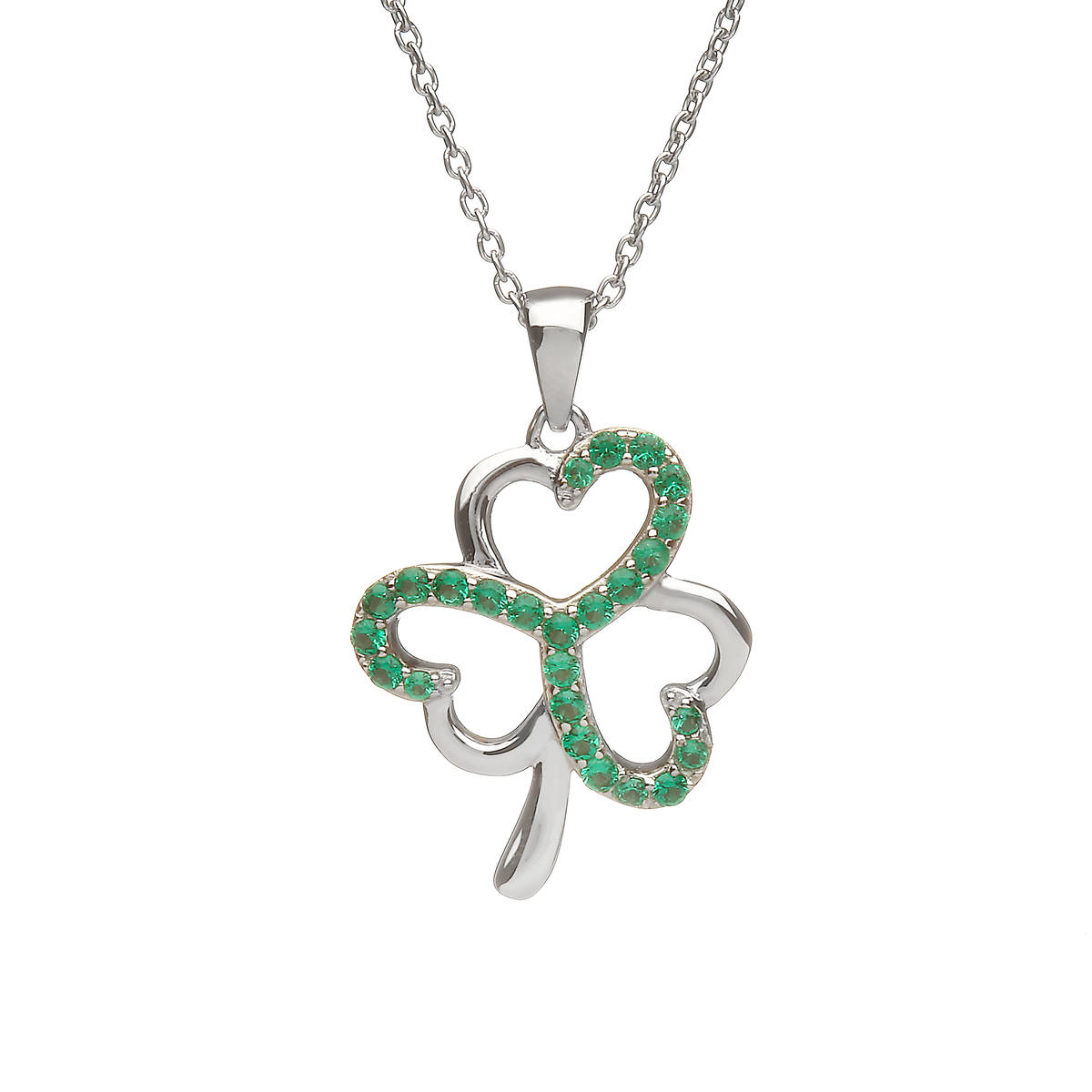 Sterling Silver Shamrock Design Pendant Set With Emerald Green Cubic Zirconias