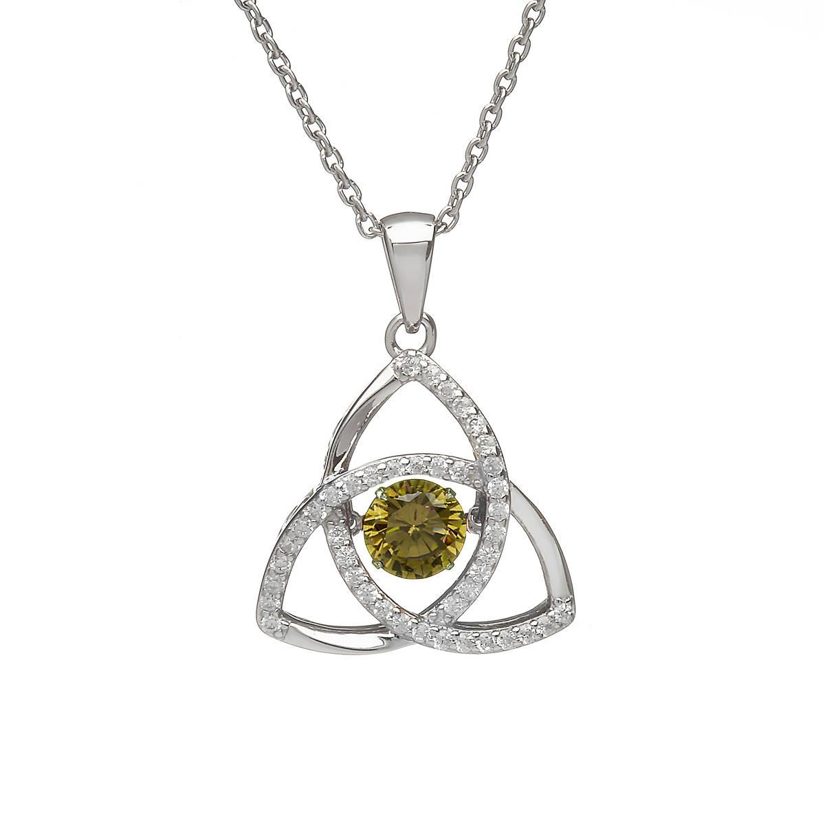 Silver Dancing Trinity Birthstone Pendant Peridot/cz