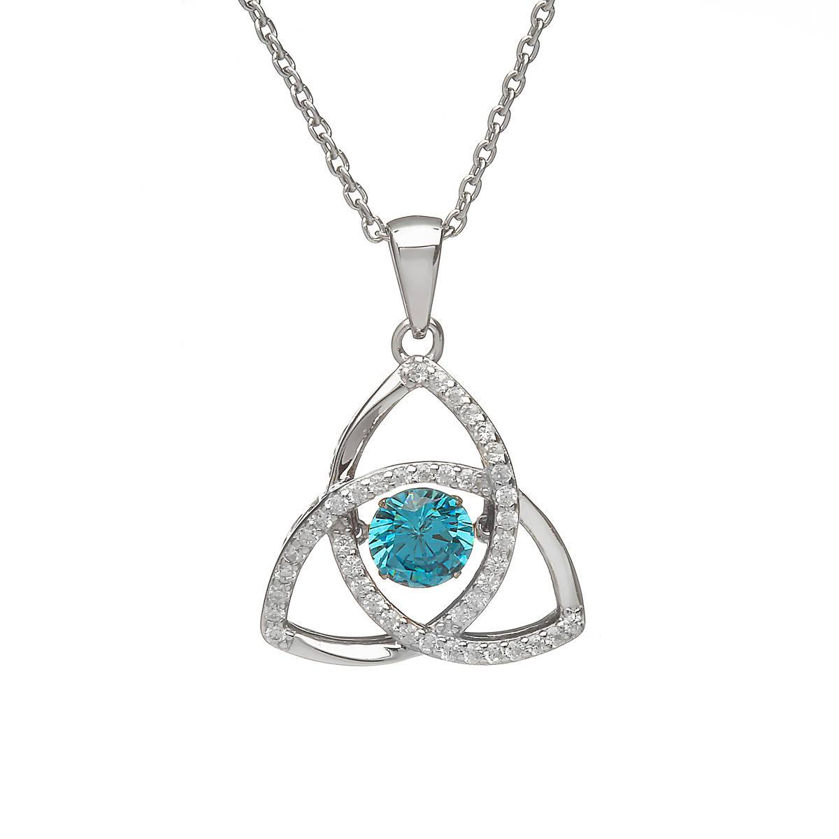 Silver Dancing Trinity Birthstone Pendant Aqua/cz