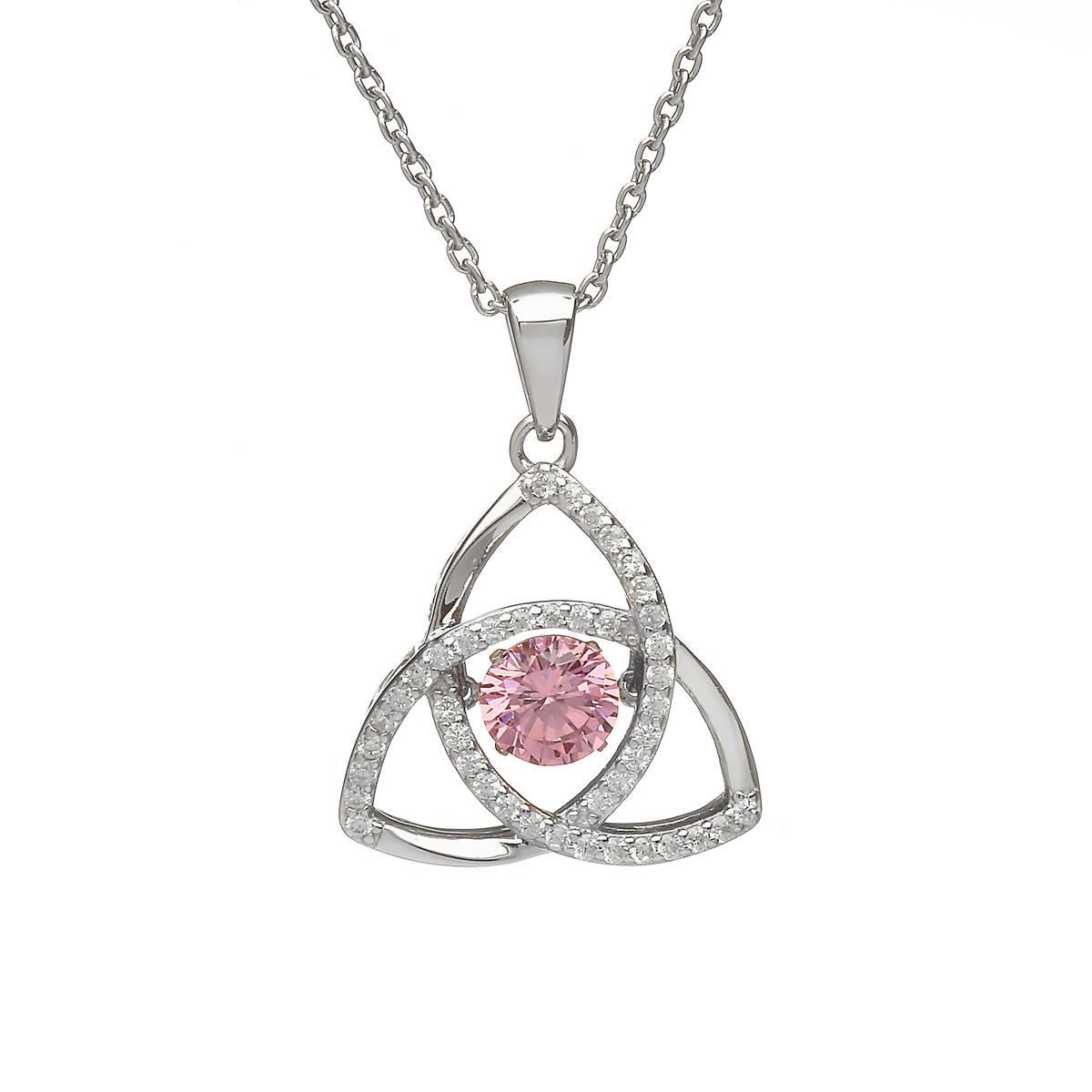 Silver Dancing Trinity Birthstone Pendant Pink/cz